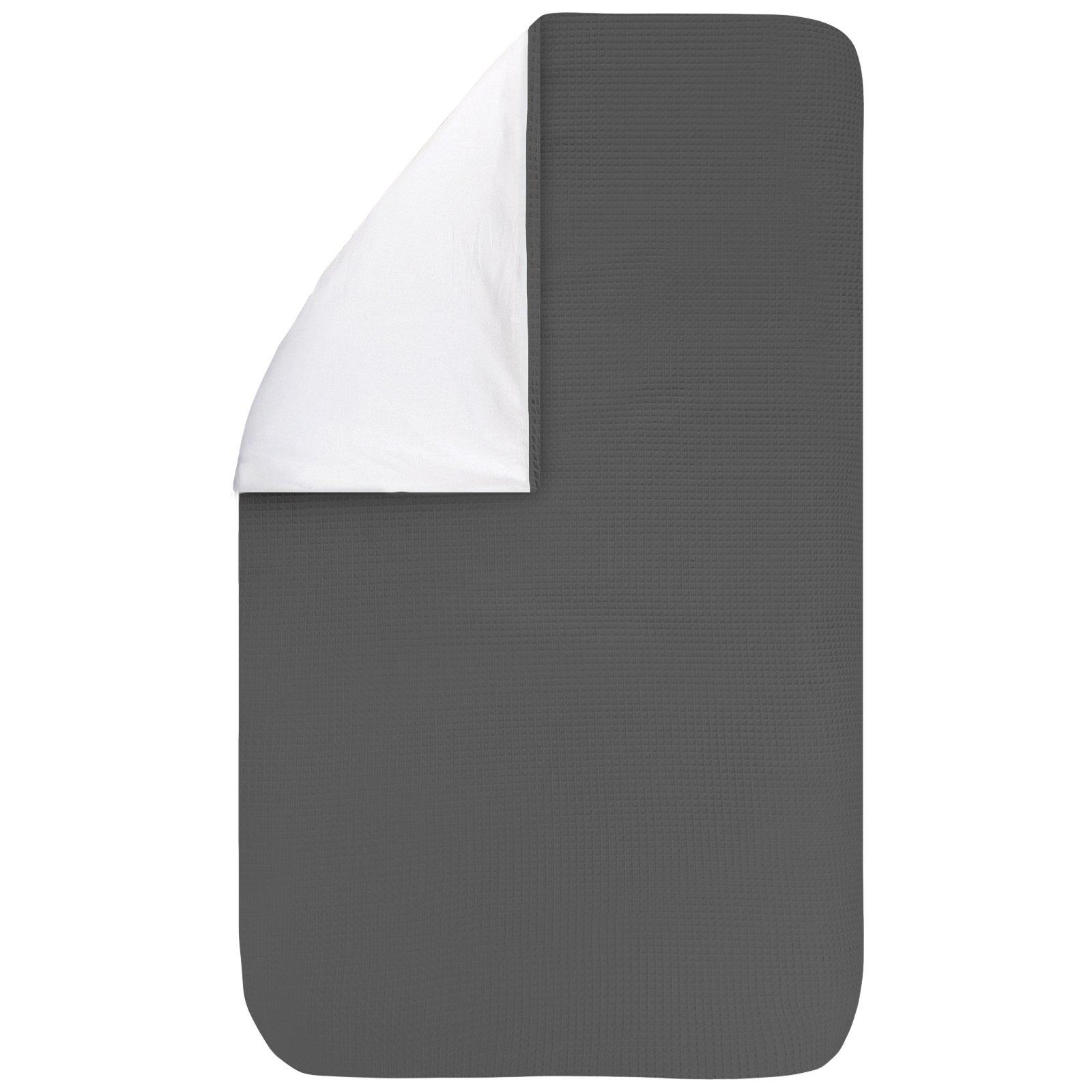 Dekbedovertrek Pique antra 100x135, een fijn dekbedovertrek van zachte antracietgrijze wafelkatoen. Goed te combineren met BINK printjes.