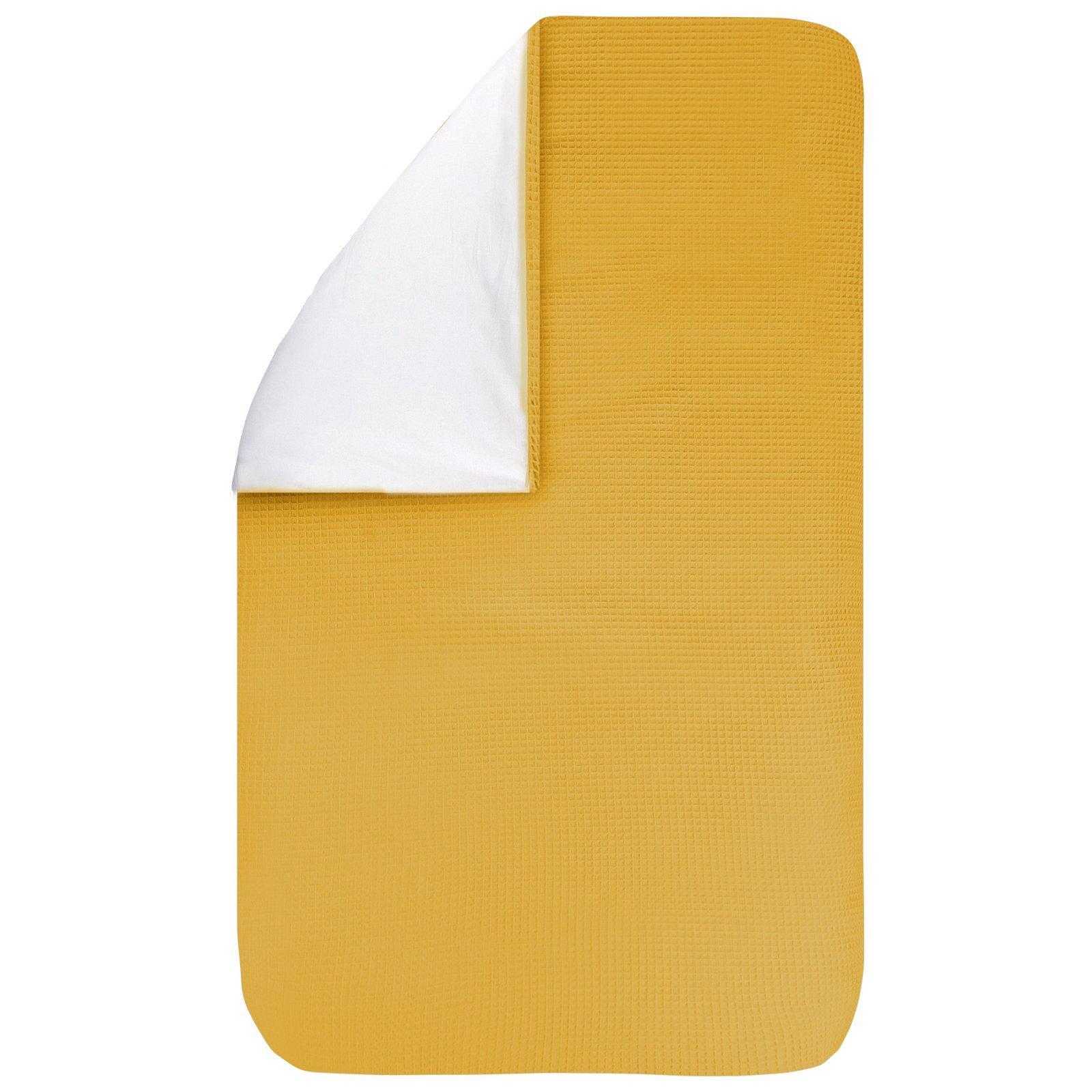 Dekbedovertrek Pique oker 100x135, een fijn dekbedovertrek van zachte okergele wafelkatoen. Goed te combineren met BINK printjes.