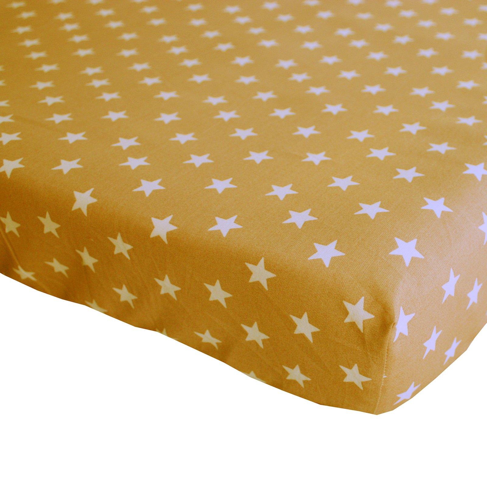 hoeslaken Stars oker 70×150