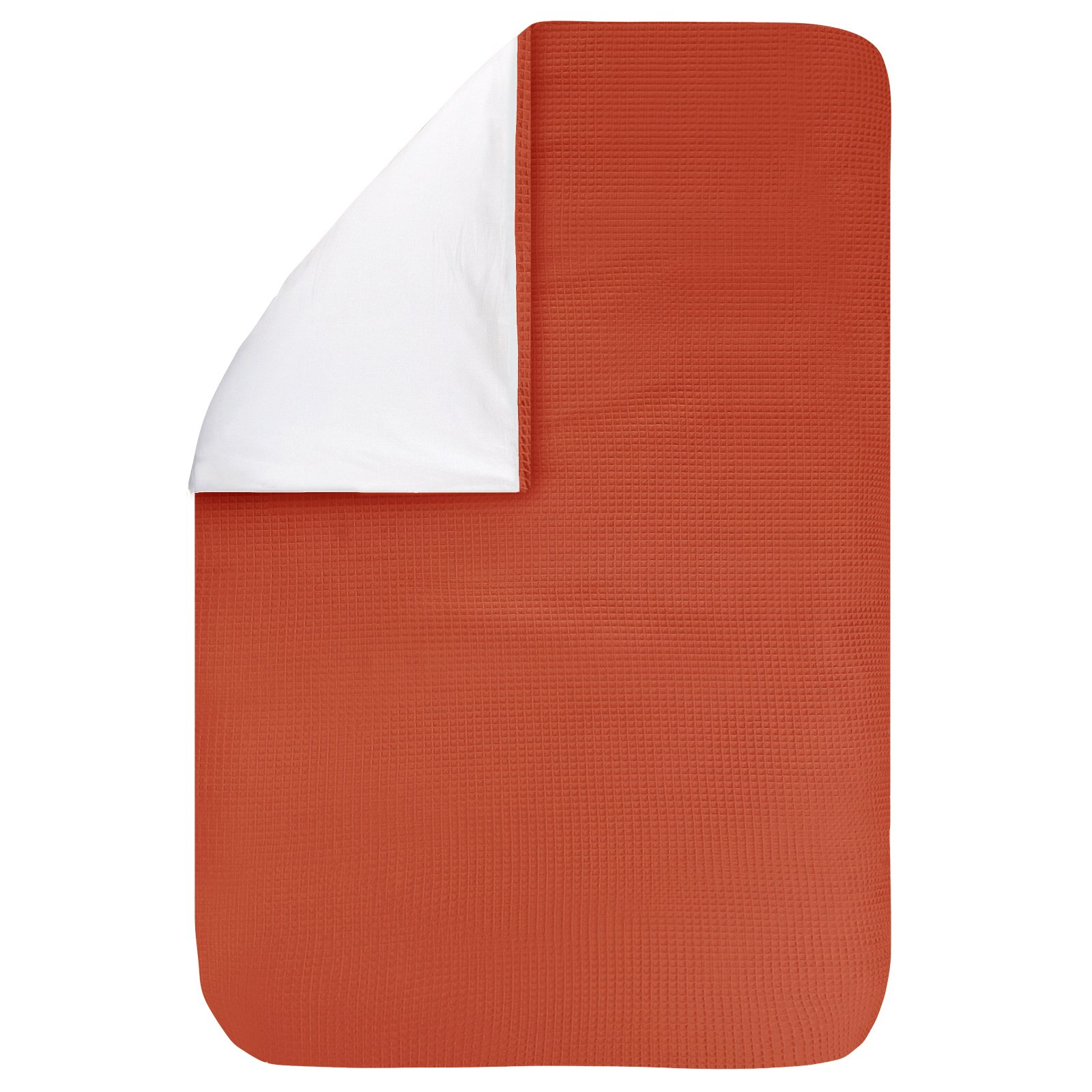Dekbedovertrek Pique terra 100x135, een fijn dekbedovertrek van zachte terracotta-oranje wafelkatoen. Goed te combineren met BINK printjes.