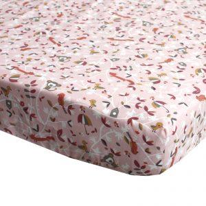 Hoeslaken voor matras ledikant met vrolijke bosdieren in roze