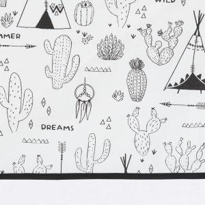 wieglaken met indianen print in zwart op wit