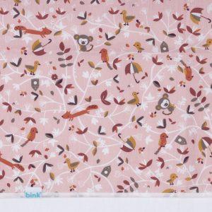 wieglaken Sofie met vrolijke bosdieren in roze