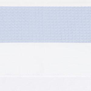 wieglaken Piqué blue met rand van zacht wafelkatoen