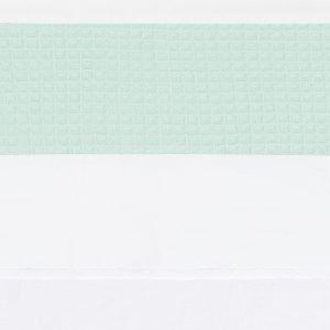 wieglaken Piqué mint met rand van wafelstof in mintgroen