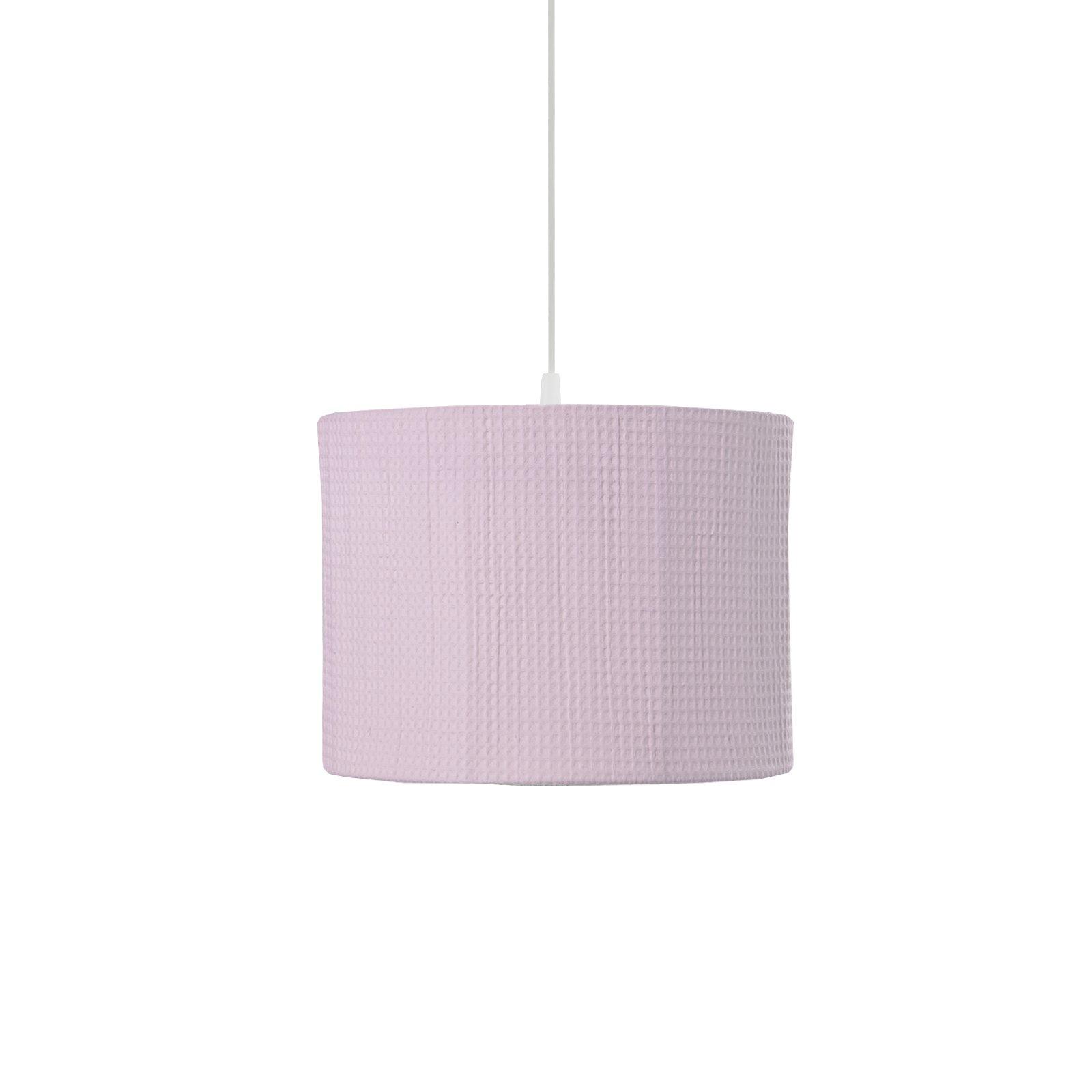 ronde hanglamp van wafelstof in roze