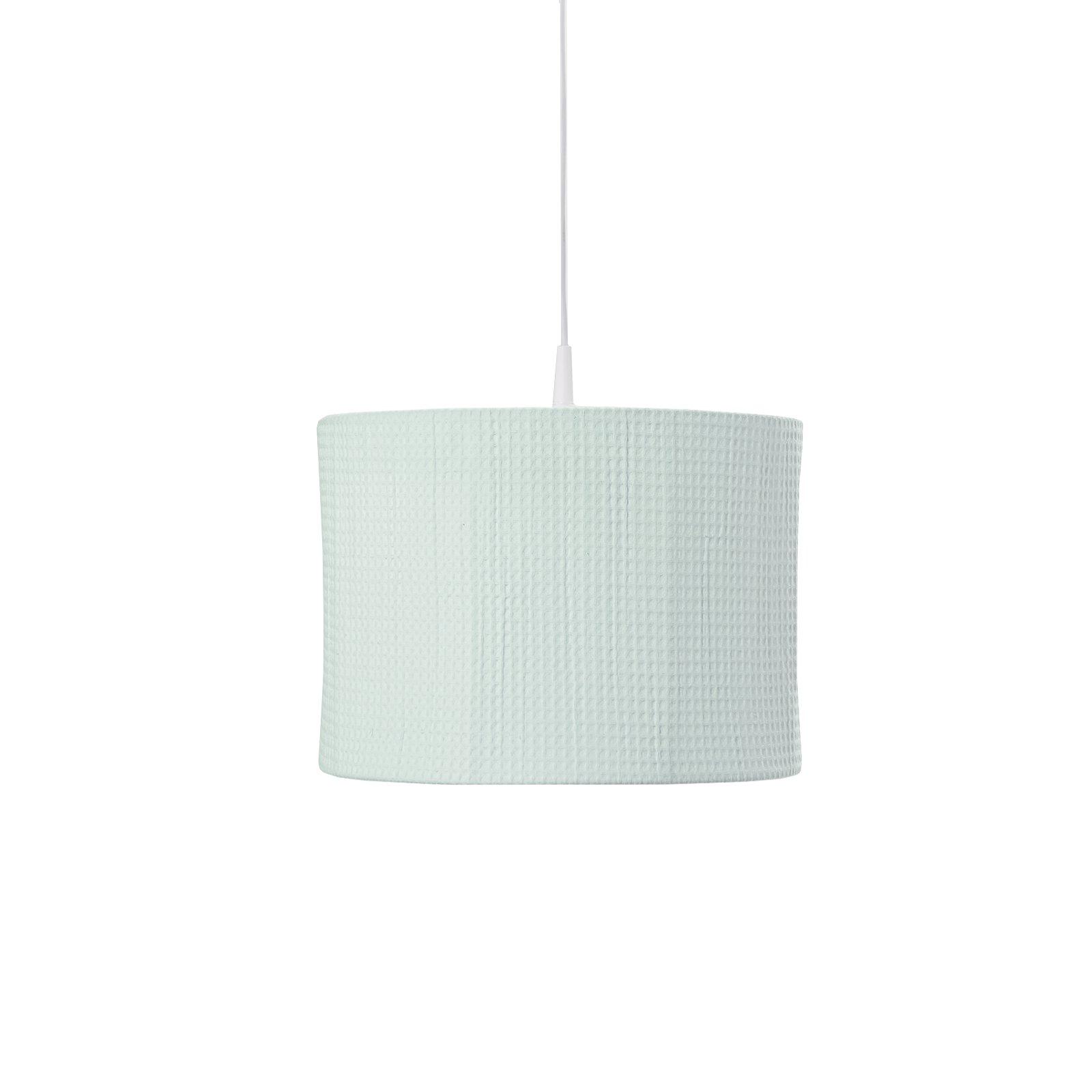 ronde hanglamp van wafelstof in mintgroen
