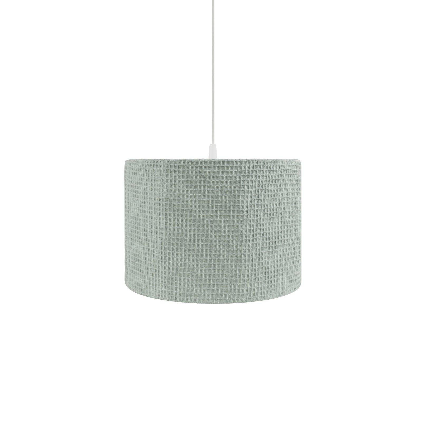 ronde hanglamp van wafelstof in olijfgroen