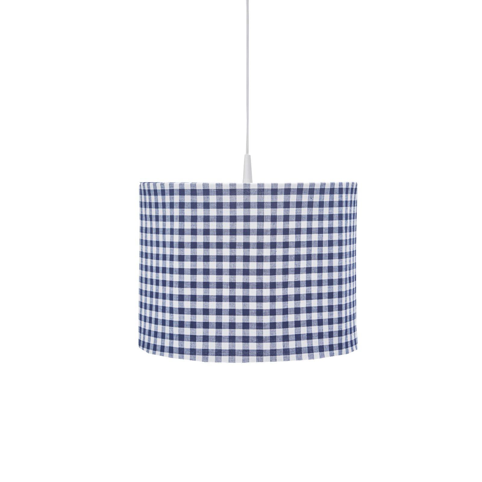ronde hanglamp met leuke BB ruit in marine