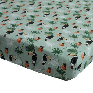 hoeslaken voor matras 70x150cm peuterbed met toekans