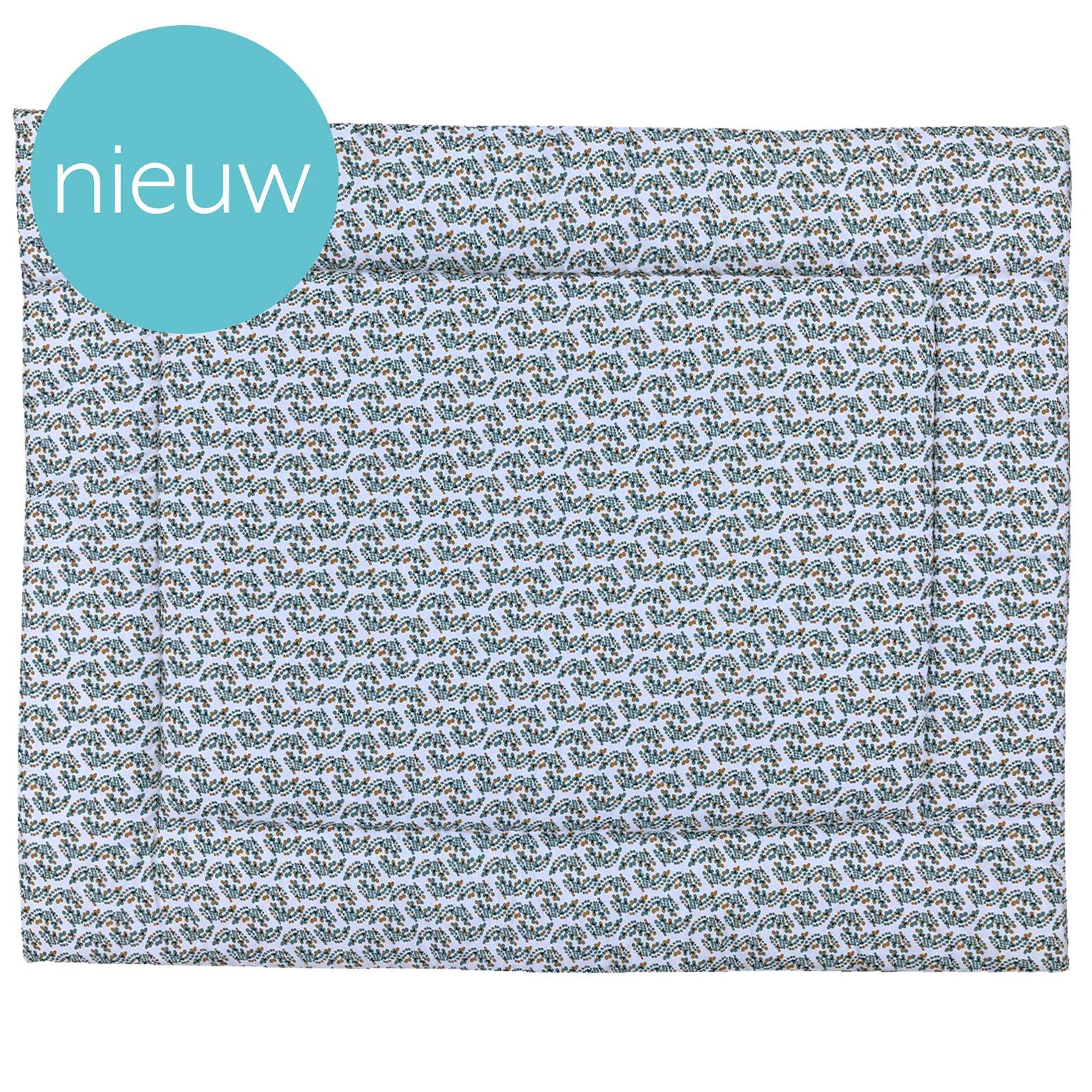 Boxkleed Spots off white ondergrond met stippenprint in mosterdgeel, zeegroen en donkerblauw