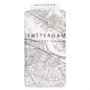 Dekbedovertrek 1-persoons BINK city DBO Amsterdam 140x200/240 + sloop 1x 60x70 met een print/stadsplattegrond van Amsterdam in zwart wit.