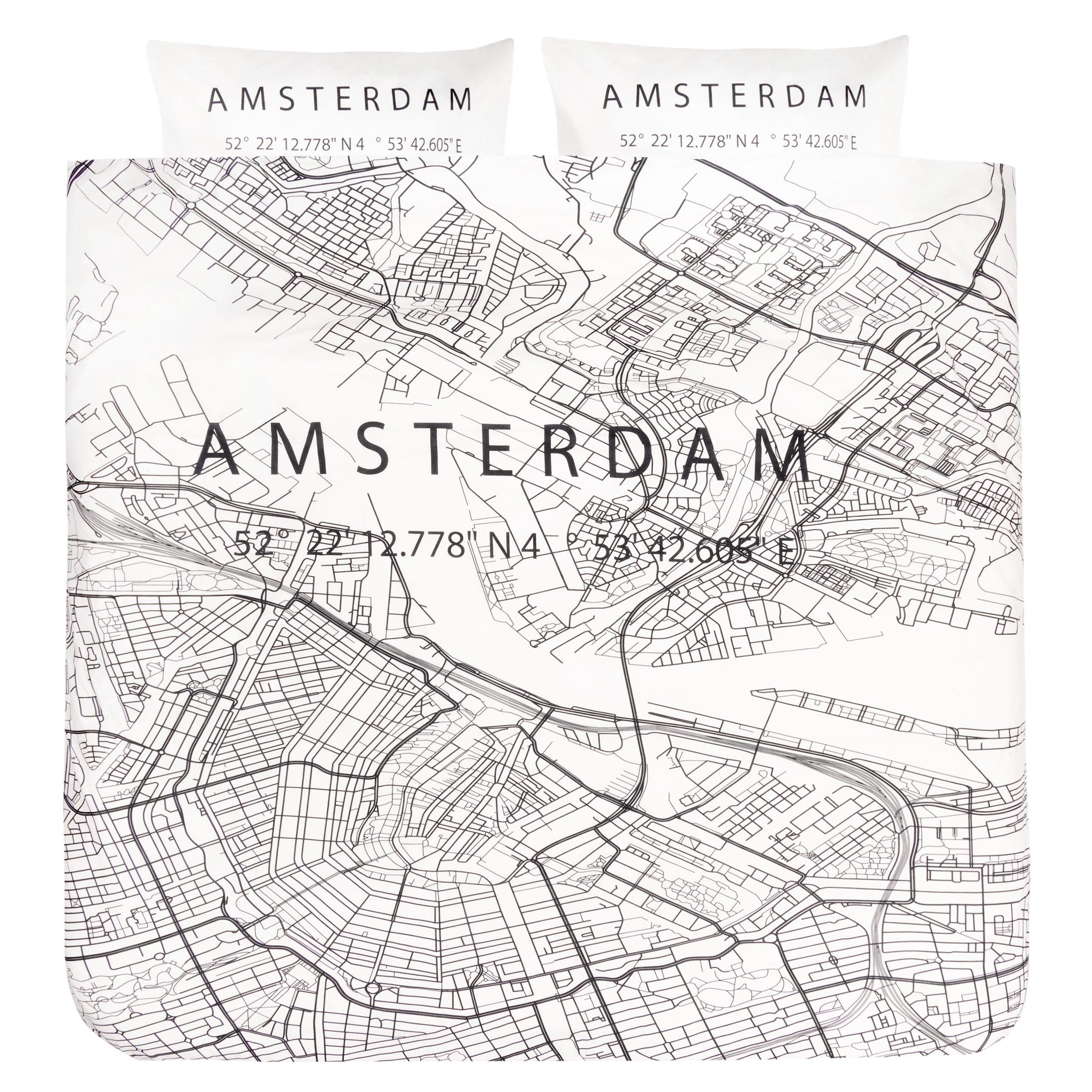 Dekbedovertrek 2-persoons BINK city DBO Amsterdam 200x200/240 + sloop 2x 60x70 met een print/stadsplattegrond van Amsterdam in zwart wit.