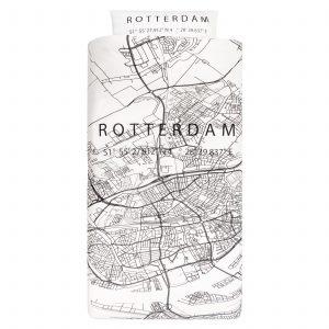 Dekbedovertrek 1-persoons BINK city DBO Rotterdam 140x200/240 + sloop 1x 60x70 met een print/stadsplattegrond van Rotterdam in zwart wit.