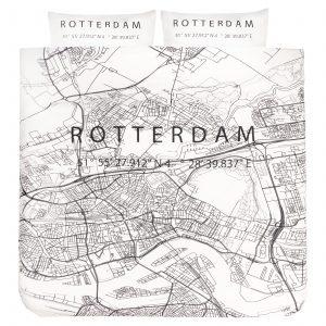 Dekbedovertrek 2-persoons BINK city DBO Rotterdam 200x200/240 + sloop 2x 60x70 met een print/stadsplattegrond van Rotterdam in zwart wit.