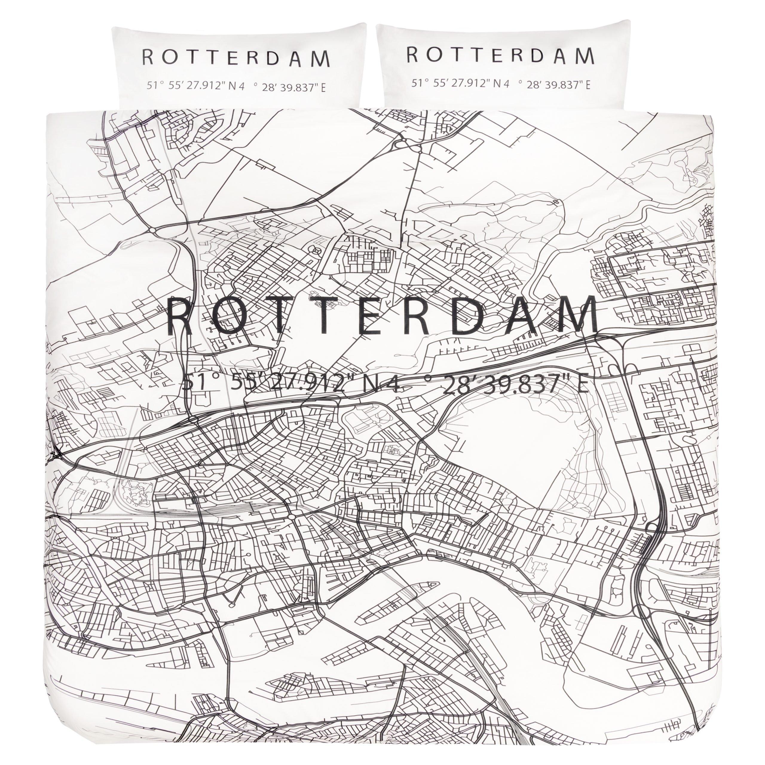 Dekbedovertrek 2-persoons lits-jumeaux BINK city DBO Rotterdam 240x200/240 + sloop 2x 60x70 met een print/stadsplattegrond van Rotterdam in zwart wit.