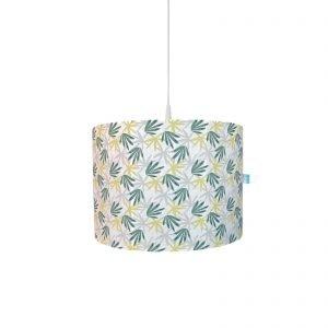 BINK Bedding hanglamp Seb, leuke katoenen hoes met bladeren print in tijmgroen, limegroen en lichtgrijs op een frisse witte ondergrond.