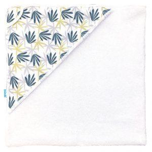Badcape Seb heeft een handig mutsje met vrolijke bladeren print in tijmgroen, limegroen en grijs en een zachte badstof binnenzijde.