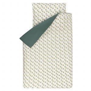 Dekbedovertrek Seb 120x150 met bladeren print in mooie groentinten met grijs en wit geschikt voor het junior- of peuterbed.