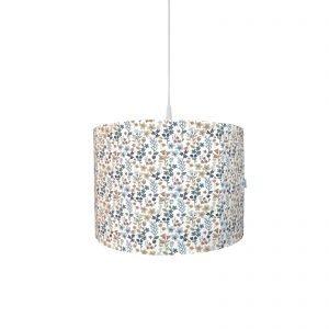 BINK Bedding hanglamp Daan met een vrolijk gebloemde print in mooie kleuren zoals blauw, zand en roestbruin op een frisse witte ondergrond.