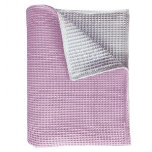 BINK Wiegdeken Pique roze/wit 75x100