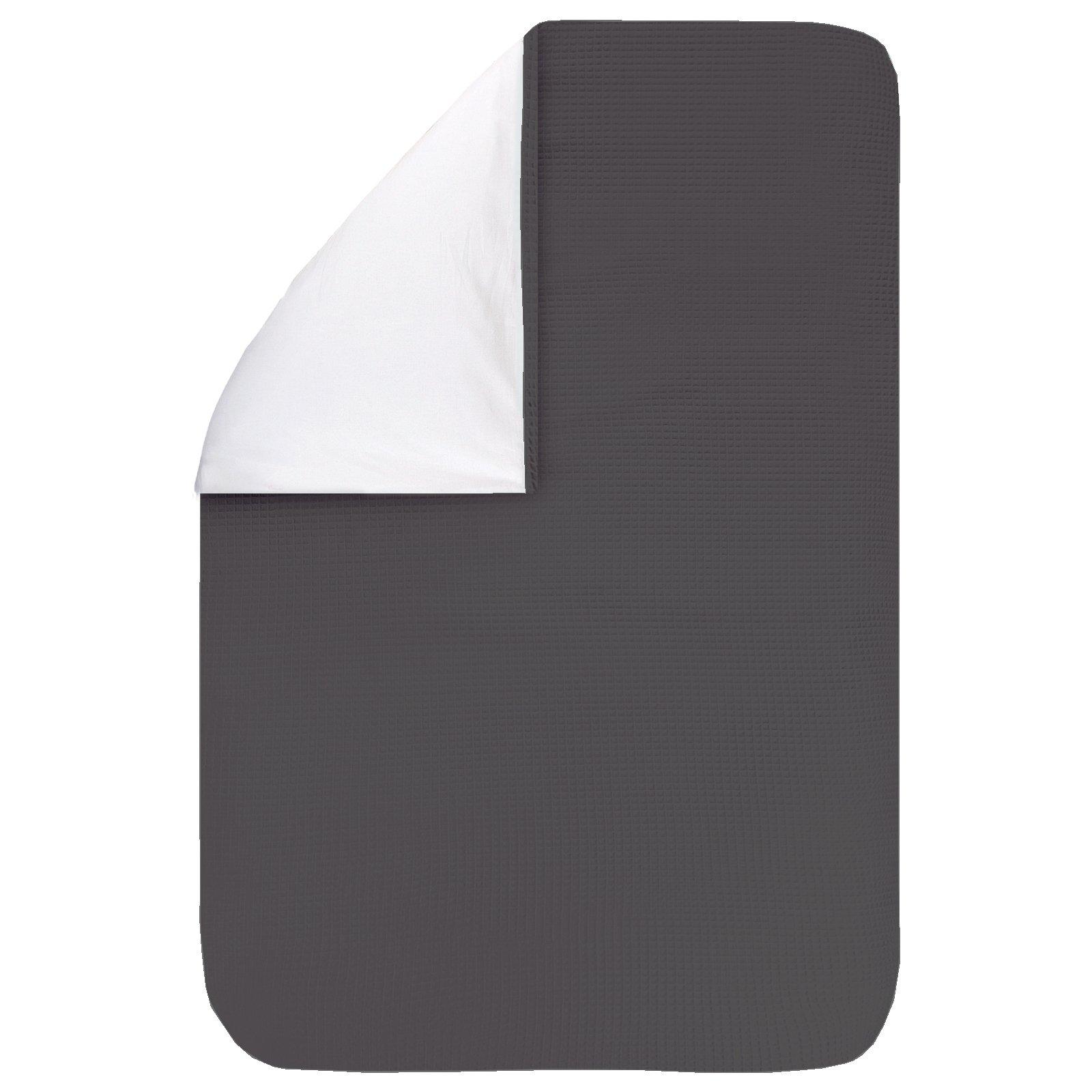 Dekbedovertrek Pique antra 60x80, een fijn dekbedovertrek van zachte antracietgrijze wafelkatoen. Goed te combineren met BINK printjes.